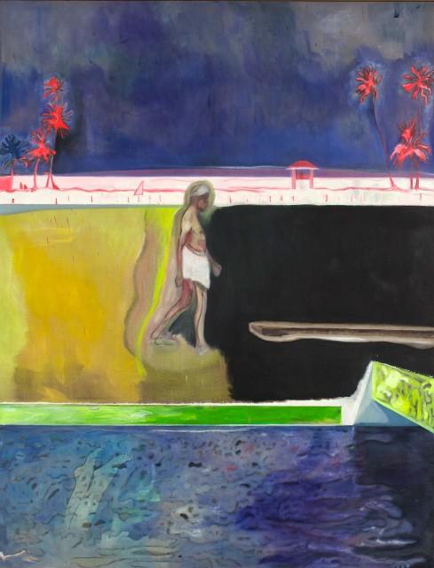 C-Peter Doig-Personnage marchant près d'une piscine-Courtesy Michael Werner Gallery